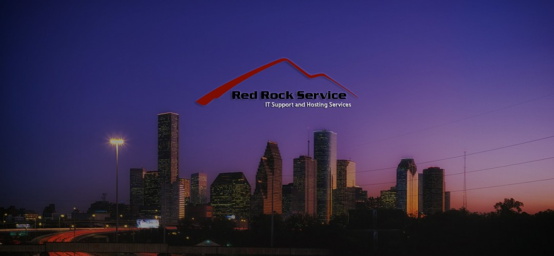 Houston Skyline with Red Rock Logo